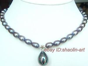 【送料無料】ネックレス charmant ,noir, rel, perle de culture , collier ,43cm