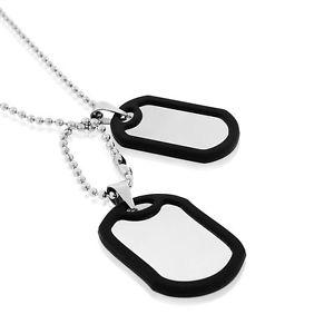 【送料無料】ネックレス ステンレススチールゴムシルバーカラーダブルedforce acier inoxydable caoutchouc noir couleur argente double deux