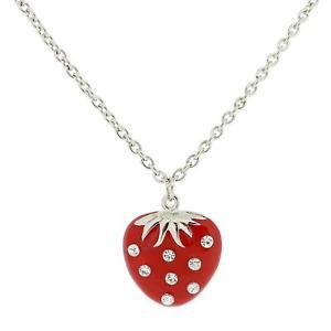 【送料無料】ネックレス エナメルクリップtoc strass transparent ensemble rouge maill fraise collier sur 61cm51cm