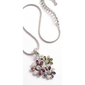 【送料無料】ネックレス カラフルガラスペンダントネックレスフラワーエクステンションtoc color ensemble de verre collier pendentif fleur 18 51cm rallonge