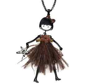 【送料無料】ネックレス ペンダントネックレスドレスフラワーsp814e sautoir collier pendentif poupe articule robe fleur, plumes et den