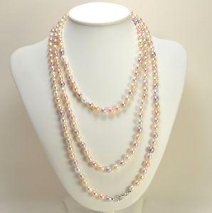【送料無料】ネックレス アルジェントパールcollana chiusura argento perle biwa multicolore 6 x 8 mm cnm 027