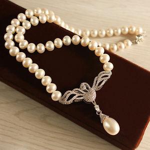 【送料無料】ネックレス シルバージルコンドロップネックレスcollier perle de culture blanche sygne argent 925 zircon pendante goutte tz