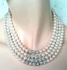 【送料無料】ネックレス ビーズパールガラスクランプ2316 collier quatre rangs de perles verre nacr