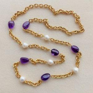【送料無料】ネックレス collana catene lavorate tono oro giallo,ametista e perle naturali