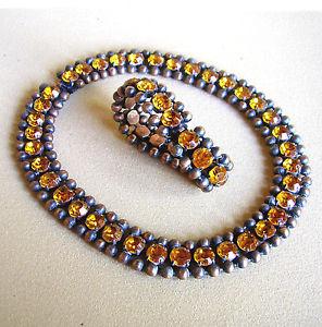 【送料無料】ネックレス ネックレスブレスレット1158  collier et bracelet laiton vieilli et strass