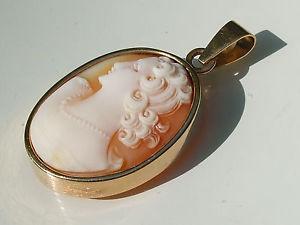 ネックレス イエローゴールドシェルエンドbeau pendentif ancien fin xixme en or jaune 18k 750 avec camee coquille femme