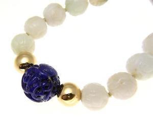 【送料無料】ネックレス ラピスラズリkゴールドネックレスvritable naturel sculpt jadite lapis lazuli 14k or collier en boules