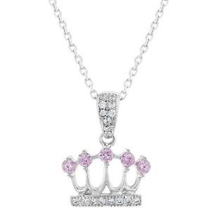 【送料無料】ネックレス ソリッドシルバーピンクジルコンプリンセスクラウンペンダントargent massif 925 rose zircon transparent princesse couronne pendentif