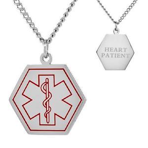 【送料無料】ネックレス ステンレススチールアラートブレスレットcoeur patient inox alerte mdicale hexagone shape pendant, 762cm gourmette