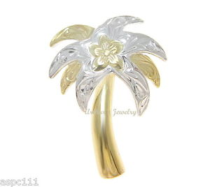 【送料無料】ネックレス スターリングシルバーハワイアントーンプルメリアen argent sterling 925 2 tons hawaen plumeria fleur volutes palmier pendentif
