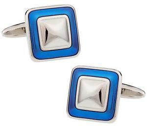 【送料無料】メンズアクセサリ― プレゼンテーションエナメルカフスリンクreflective blue square enamel cufflinks in silver with presentation box