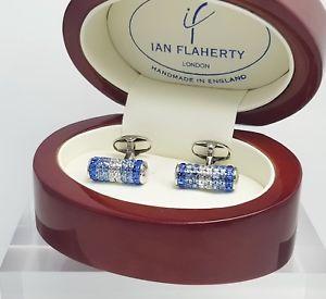 【送料無料】メンズアクセサリ― イアンフラハティサファイアクリスタルカフスボタントレンドカフスボタンメンズカフリンクスsapphire crystal cufflinks by ian flaherty trending cufflinks,mens cufflinks
