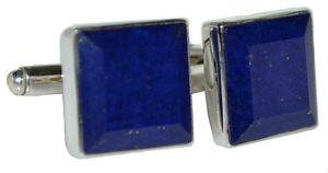 【送料無料】メンズアクセサリ― スターリング925エメラルドカットカフスリンクsterling 925 silver emerald cut lapis lazuli cufflinks, authentic gemstone gifts