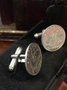 【送料無料】メンズアクセサリ― オーストラリアスターリングシルバー6ペンスカフスリンクuaustralian stirling silver sixpence cuff links u choose anniversarybirth year