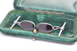 【送料無料】メンズアクセサリ― シマメノウヴィンテージアールデコスターリングカフスリンクb540vintage art deco sterling silver cufflinks with an onyx insert b540