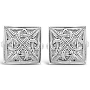 【送料無料】メンズアクセサリ― スターリングシルバーセルティックボックスカフスボタンsterling silver celtic square cufflinks with gift box