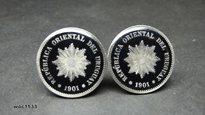 【送料無料】メンズアクセサリ― ウルグアイコインカフスボタン1901 uruguay coin cufflinks 5 centesimos