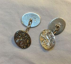 【送料無料】メンズアクセサリ― ヴィンテージ1980スターリングカフスリンクvintage 1980s sterling silver cufflinks oval in good condition