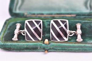 【送料無料】メンズアクセサリ― アールデコシマメノウg224ヴィンテージスターリングカフスリンクvintage sterling silver cufflinks with an art deco onyx inserts g224