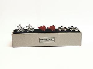 【送料無料】メンズアクセサリ― 3テーマサイクリストサドルギヤーmensカフスリンクシマメノウロンドンセットonyx art london set of 3 cycling themed cyclist saddle gear mens cufflinks
