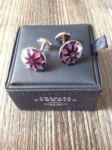 【送料無料】メンズアクセサリ― チャールズライラックエナメルカフリンクス charles tyrwhitt lilac floral enamel cufflinks