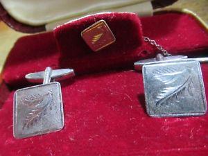 【送料無料】メンズアクセサリ― ビンテージソリッドシルバーサミュエルカフリンクスタイピンvintage solid silver hsamuel hallmarked cufflinks amp;tie pin boxed 194546