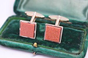 【送料無料】メンズアクセサリ― ビンテージアールデコスターリングシルバーレッドゴールドストンカフリンクスvintage art deco sterling silver cufflinks with a red goldstone insert b244