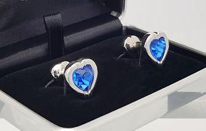 【送料無料】メンズアクセサリ― イアンフラハティスワロフスキーサファイアクリスタルハートカフスボタンメンズアクセサリーswarovski sapphire crystal heart cufflinks made by ian flaherty,mens accessorie