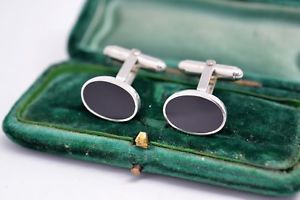 【送料無料】メンズアクセサリ― シマメノウヴィンテージアールデコスターリングカフスリンクb444vintage art deco sterling silver cufflinks with an onyx insert b444