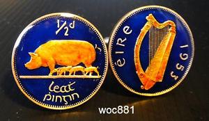【送料無料】メンズアクセサリ― アイルランドコインカフスリンク12ペニーハープireland coin cufflinks 12 penny harp sow with piglets