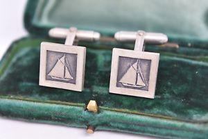 【送料無料】メンズアクセサリ― ビンテージスターリングシルバーアールデコセーリングカフリンクスvintage sterling silver cufflinks with an art deco sailing design g46