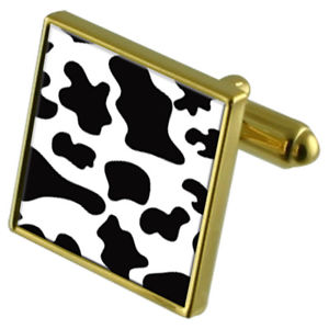 【送料無料】メンズアクセサリ― カウスキンプリントカフスボタンクリスタルタイクリップセットcow skin print goldtone cufflinks crystal tie clip gift set