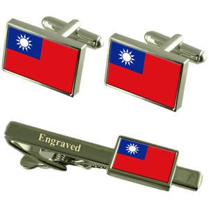 【送料無料】メンズアクセサリ― カフスボタンタイクリップマッチングボックスtaiwan flag cufflinks engraved tie clip matching box set