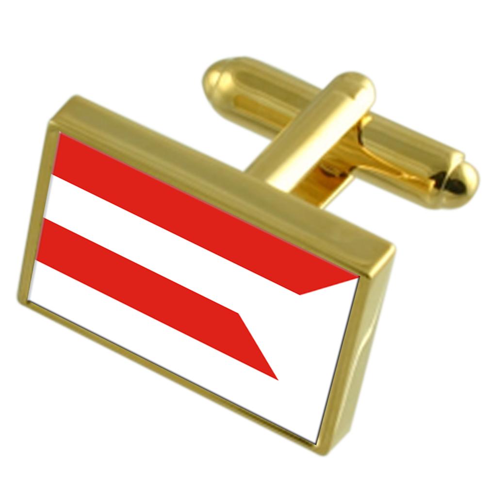 【送料無料】メンズアクセサリ― シティスロバキアゴールドフラッグカフスボタンボックスpresov city slovakia gold flag cufflinks engraved box