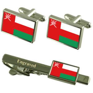 【送料無料】メンズアクセサリ― オマーンカフスボタンタイクリップマッチングボックスoman flag cufflinks engraved tie clip matching box set