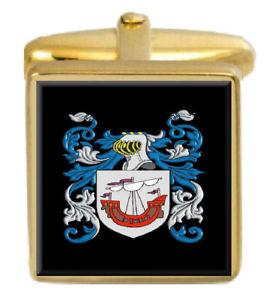 【送料無料】メンズアクセサリ― ウッズイングランドカフスボタンボックスコートwoods england family crest surname coat of arms gold cufflinks engraved box