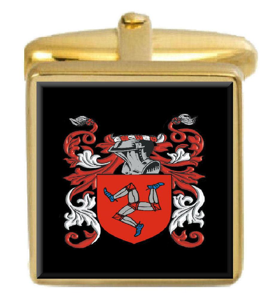 【送料無料】メンズアクセサリ― スコットランドカフスボタンボックスコートqueen scotland family crest surname coat of arms gold cufflinks engraved box
