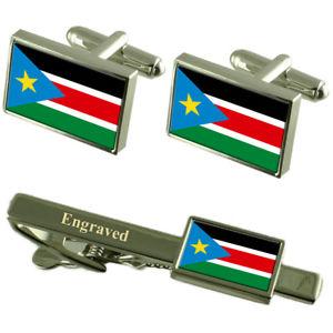 【送料無料】メンズアクセサリ― スーダンカフスボタンタイクリップマッチングボックスsouth sudan flag cufflinks engraved tie clip matching box set