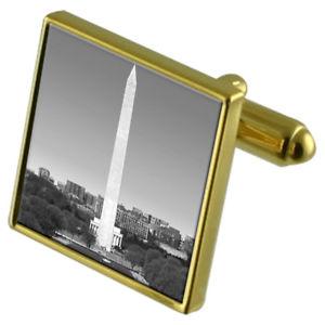 【送料無料】メンズアクセサリ― ワシントンモニュメントカフスボタンクリスタルタイクリップセットwashington dc monument goldtone cufflinks crystal tie clip gift set