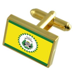 【送料無料】メンズアクセサリ― ベリーズシティゴールドフラッグカフスボタンボックスbelmopan city belize gold flag cufflinks engraved box