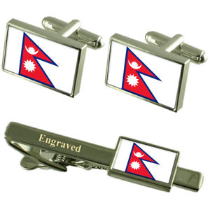 【送料無料】メンズアクセサリ― ネパールカフスボタンタイクリップマッチングボックスnepal flag cufflinks engraved tie clip matching box set