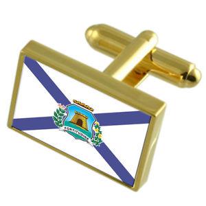 【送料無料】メンズアクセサリ― フォルタレザブラジルゴールドフラッグカフスボタンボックスfortaleza city brazil gold flag cufflinks engraved box