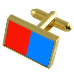 【送料無料】メンズアクセサリ― カターニアイタリアゴールドフラッグカフスボタンボックスcatania city italy gold flag cufflinks engraved box