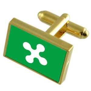【送料無料】メンズアクセサリ― ロンバルディアイタリアゴールドフラッグカフスボタンボックスlombardy region italy gold flag cufflinks engraved box