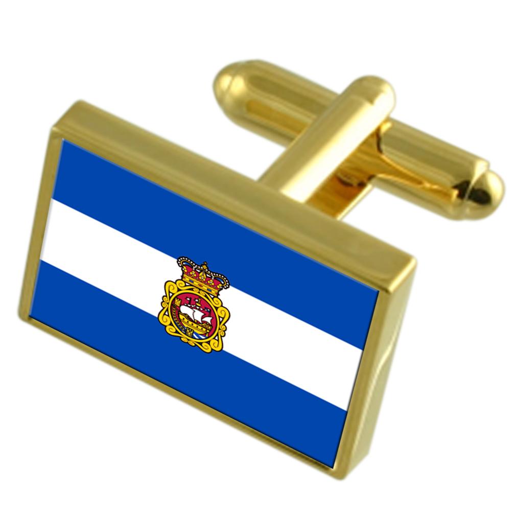 【送料無料】メンズアクセサリ― スペインゴールドフラッグカフスボタンボックスaviles city spain gold flag cufflinks engraved box