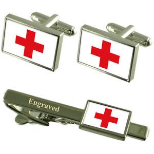 【送料無料】メンズアクセサリ― カフスボタンタイクリップマッチングボックスred cross flag cufflinks engraved tie clip matching box set