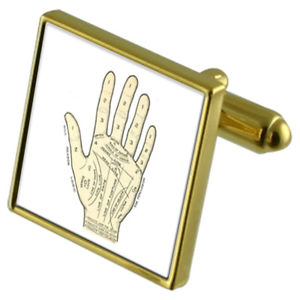 【送料無料】メンズアクセサリ― カフスボタンクリスタルタイクリップセットpalmistry fortune hand goldtone cufflinks crystal tie clip gift set