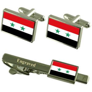 【送料無料】メンズアクセサリ― シリアカフスボタンタイクリップマッチングボックスsyria flag cufflinks engraved tie clip matching box set