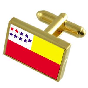 【送料無料】メンズアクセサリ― エクアドルゴールドフラッグカフスボタンボックスchone city ecuador gold flag cufflinks engraved box